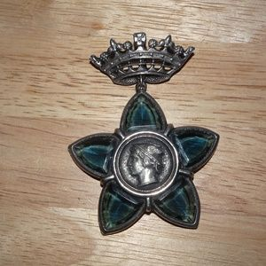 Roman Coin In Blue Glass Star Crown Brooch Pin